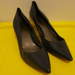 Navy Blue Leather Heels